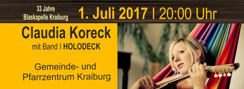 Claudia Koreck – live am Sa. 1. Juli 2017 in Kraiburg